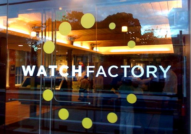 Watch Factory logo on window