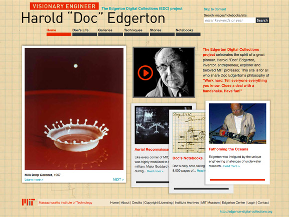 Edgerton Digital Collections homepage