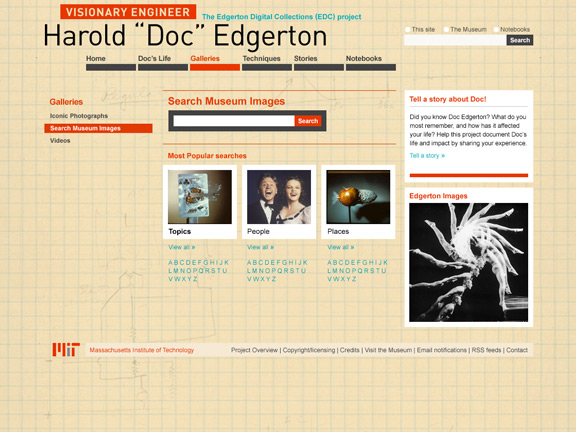 Edgerton Digital Collections search page