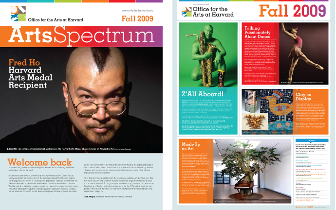 Office for the Arts at Harvard newsletter and poster
